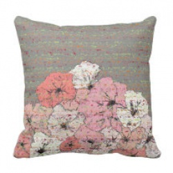 gray and pink flower script throw pillow front