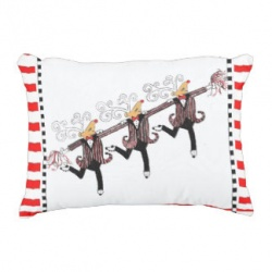 3 dancing reindeer with red white stripe border