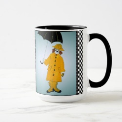 Funny beagle in the rain coffee mug