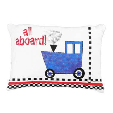 all aboard blue caboose pillow back view
