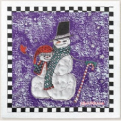 snowmen greetings cocktail napkin