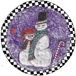 snowman greetings paper plate