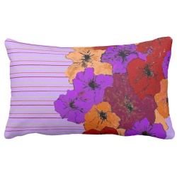 purple pinstripe with red and purple flowers lumbar pillow
