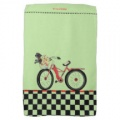 retro red bike kitchen towel checkered border