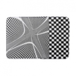black and white checkered swirl bathmat