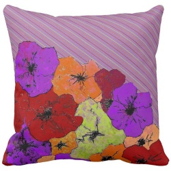 purple pinstripe flower throw pillow