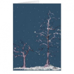 winter trees in the snow greeting card