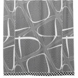 black and white checkered swirl shower curtain
