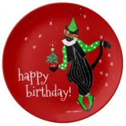 happy christmas birthday cat plate