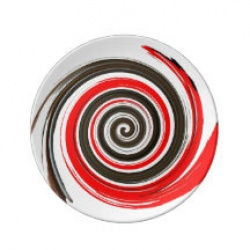 red white and chocolate swirl plate