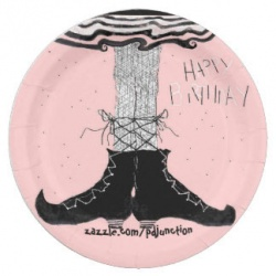pink ballerina witch birthday paper plate