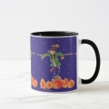 scarecrows in a pumpkin patch mug