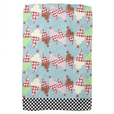 colorful parade of dancing ice cream cones kitchen towel