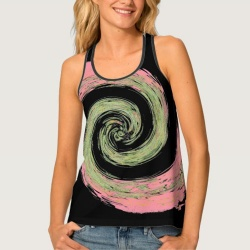 pink black and green abstract swirling tank top