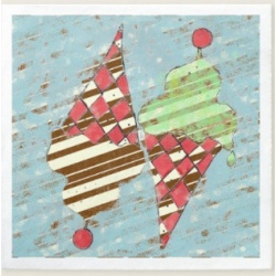 vintage argyle and stripes ice cream cone cocktail napkin