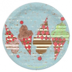 vintage argyle and stripes ice cream cone paper plate