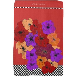 red purple and amber wildflowers on red towel
