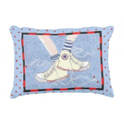 denim blue baby boy pillow featuring retro high top sneakers