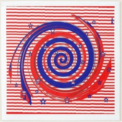 red white and blue swirling stars and stripes