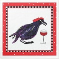 Funny Crow with a glass of wine wearing a beret