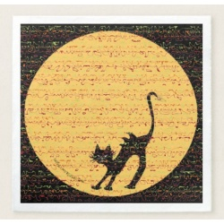 Arching black cat in front of a full moon napkun