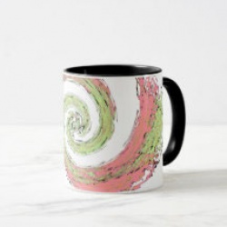 pink and green abstract swirling coffee mug