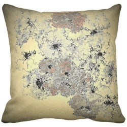 burst of copper gold sepia computer art flowers throw pillow