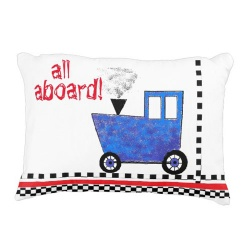 all aboard! blue caboose baby pillow