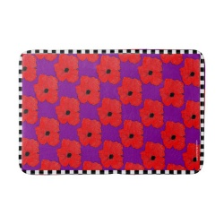 red poppy flower power bathmat