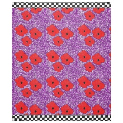 purple and really red poppy flower power fleece blanket