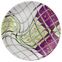 purple and green psychedelic swirl plate