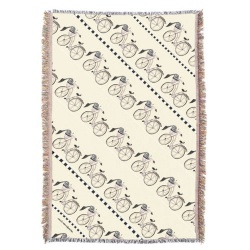 neutral cream bicycle throw