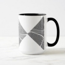 black and white checker swirl mug