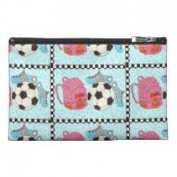 girls soccer pink and green canvas accessory bag