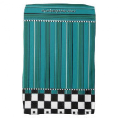 turquoise checkered stripe towel 1