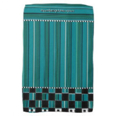 turquoise checkered stripe towel 2 in situ