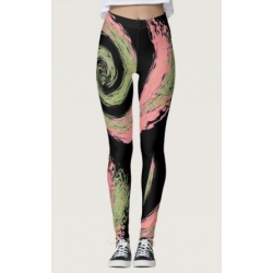 black pink and green swirl leggings front view