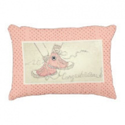 congratulations baby girl pink polka dot accent pillow