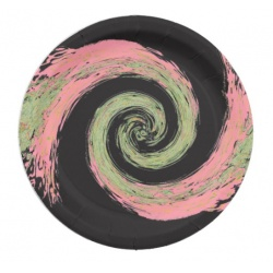 black pink and green abstract swirl paper plate