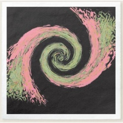 black pink and green abstract swirl cocktail napkin