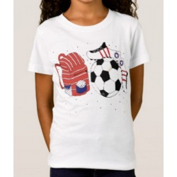 soccer girl tee shirt with soccer ball and shoes