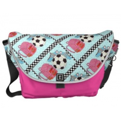 pink and turquoise girls soccer messenger bag