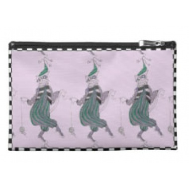 trio of dancing jester cats cosmetic bag front