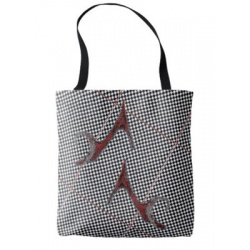 black and white checked tote with red shoes