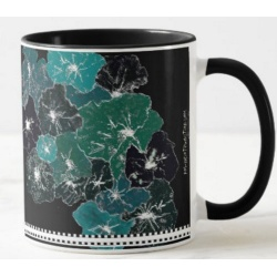 right view of floral blues coffee mug