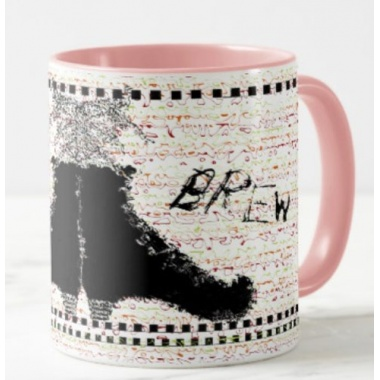 left view of black witches brew mug