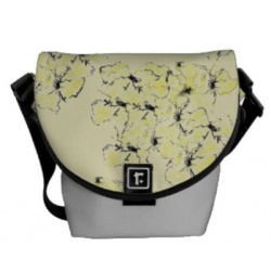 front view of yellow spring flowers mini messenger bag