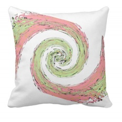 Abstract Swirl of Pink and green against white