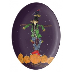 Front View of Scarecrow and Crow Platter