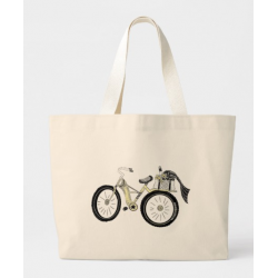 Retro Yellow Bicycle on Tote Bag